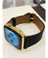24K Gold Plated 44MM Apple Watch  SERIES 6 Stainless Steel Black Leather... - $1,322.40