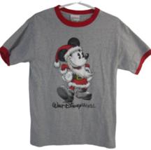 Disney T Shirt Mickey Mouse as Santa Claus adult M gray Walt Disney Worl... - $16.65