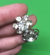 Vitg EARRINGS  signed CORO Screwback Prong-Set Rhinestones Clear Sparkles - $14.03
