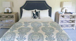 Pottery Barn Lucianna Duvet Cover Blue Queen Floral Medallion No Shams - $94.89