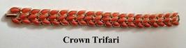 Vintage 1960's Crown Trifari Coral Cabochon Gold Tone Bracelet - $44.95