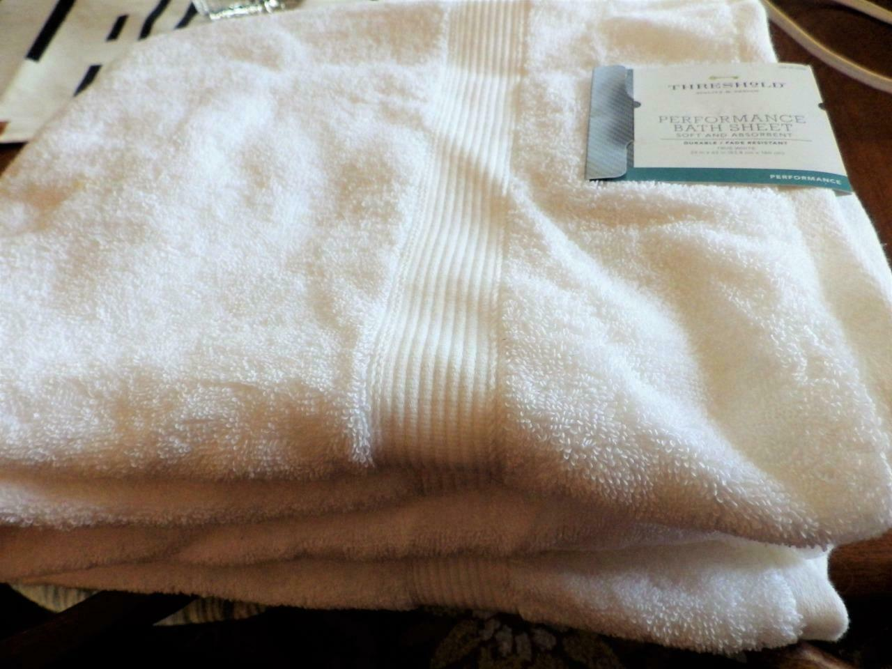 2 Performance Bath Sheets Towels Threshold True White 100% Cotton Target - $27.72