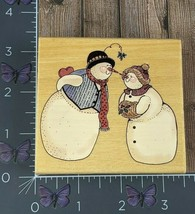 Uptown Rubber Stamp Snow Kiss Snowman Couple Eskimo Winter Wood #AG159 - $7.92
