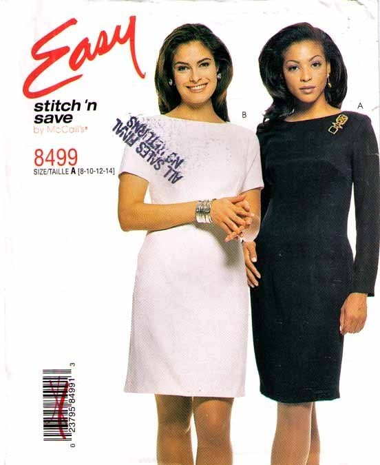 1998 FITTED DRESS Pattern 8499-m  Size 8-10-12-14 - UNCUT