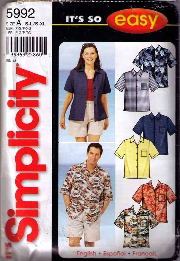 2002 SHIRT Pattern 5992-s - All Sizes UNCUT