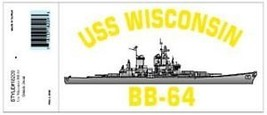 NAVY USS WISCONSIN  BB-64 MILITARY WAR SHIP DECAL - $13.53