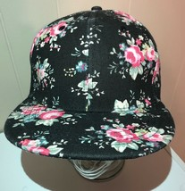 Flower Hat Black Pink Snapback Cap Baseball Trucker Sharas - $13.85