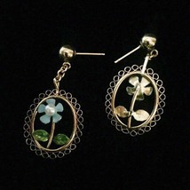 Vintage 60s gold filigree with blue enamel daisy & pearl post dangle earrings image 3