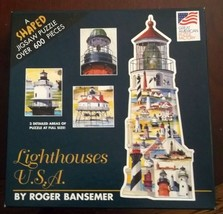 Lighthouse Shaped Puzzle 600 Pieces Roger Bansemer Great American Puzzle... - $9.89