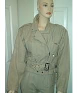 "Vintage 80s Zipper Studded Jacket Pants Set Size XS Beige 24"" Waist 100%... - $59.00"