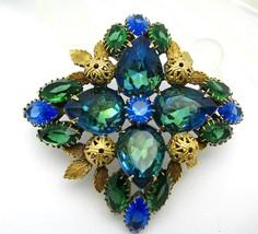 Large Chunky Rhinestone Brooch Pin Blue Green Domed - $75.00
