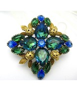 Large Chunky Rhinestone Brooch Pin Blue Green Domed - $75.00
