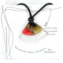Handmade Recycled Fused Glass Green Red & Brown Triangle Necklace Made Ecuador