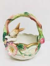 "FITZ & FLOYD Classics Garden Rhapsody Easter Basket & Bunny Rabbit 7"" Po... - $15.79"