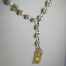.925 RHODIUM SILVER NECKLACE, SCARF,WHITE BAROQUE PEARLS, YELLOW CRACK CRISTALS. image 2