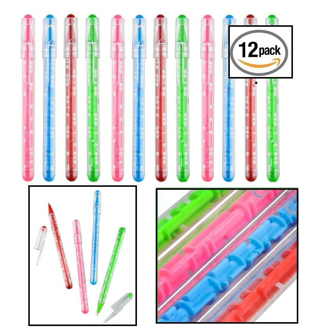 Colorful Maze Puzzle Pen (12 Pack) Ball in Maze Puzzle Game Fidget. Blue ink.