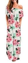 Women Off Shoulder Floral Beach White X-Large Maxi Dress with Pockets - $32.87