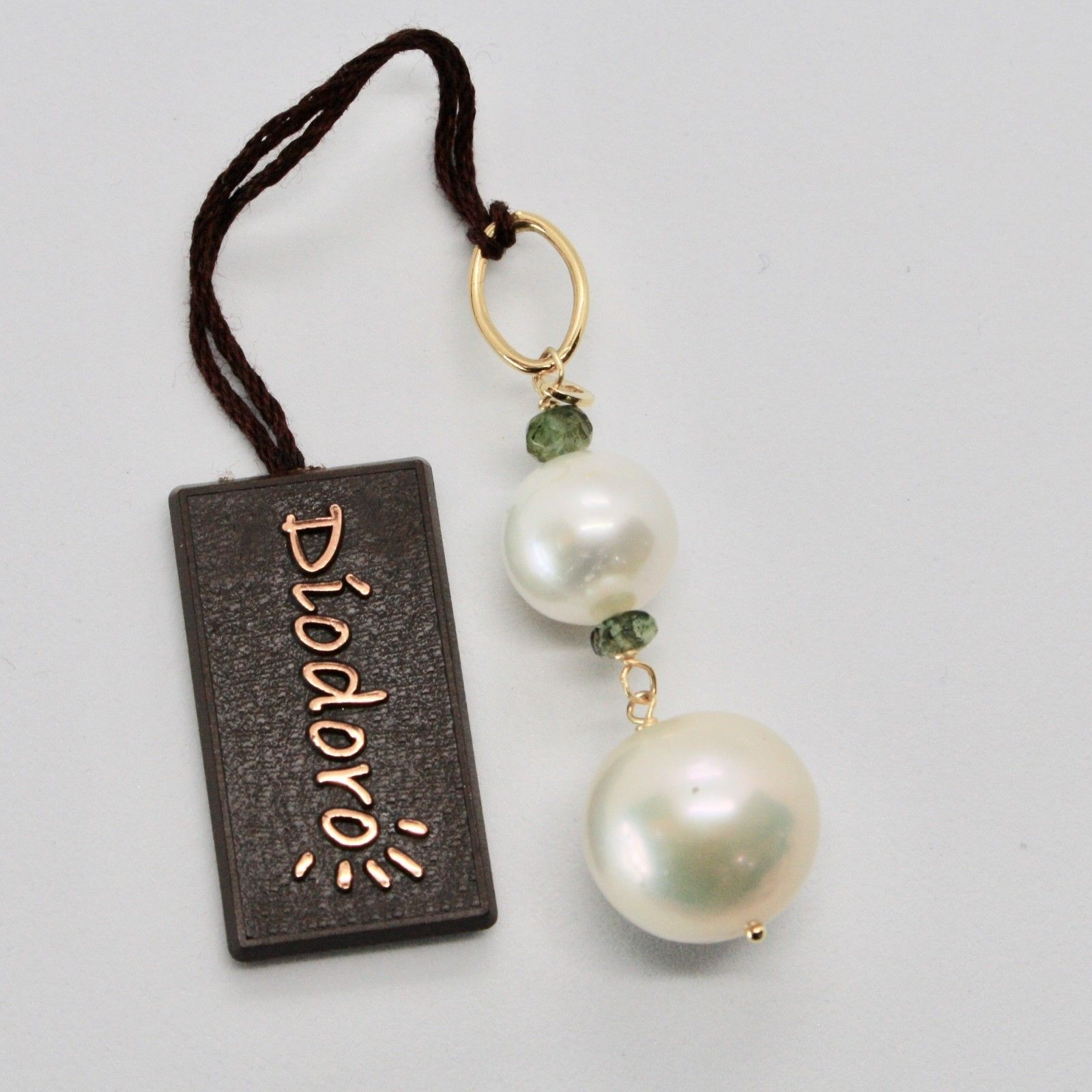 PENDANT YELLOW GOLD 18KT WITH WHITE PEARLS FRESH WATER AND TOURMALINE GREEN