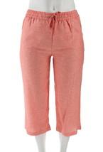 Liz Claiborne NY Jackie Cropped Linen Pants Deep Sea Coral 18WP NEW A254845 - $27.70