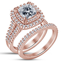 Cushion Cut Diamond Womens Bridal Ring Set 14k Rose Gold Finish 925 Soli... - $93.99