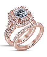 Cushion Cut Diamond Womens Bridal Ring Set 14k Rose Gold Finish 925 Soli... - $75.19