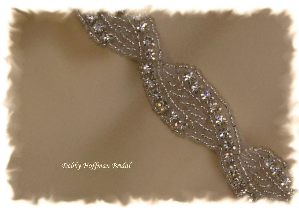 Beaded Rhinestone Crystal Bridal Sash, Bridal Belt  No. 1121S - Made to Order