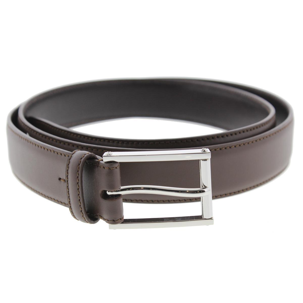 $295.00 Ralph Lauren 2673 Mens Brown Calfskin Leather Solid Dress Belt 40