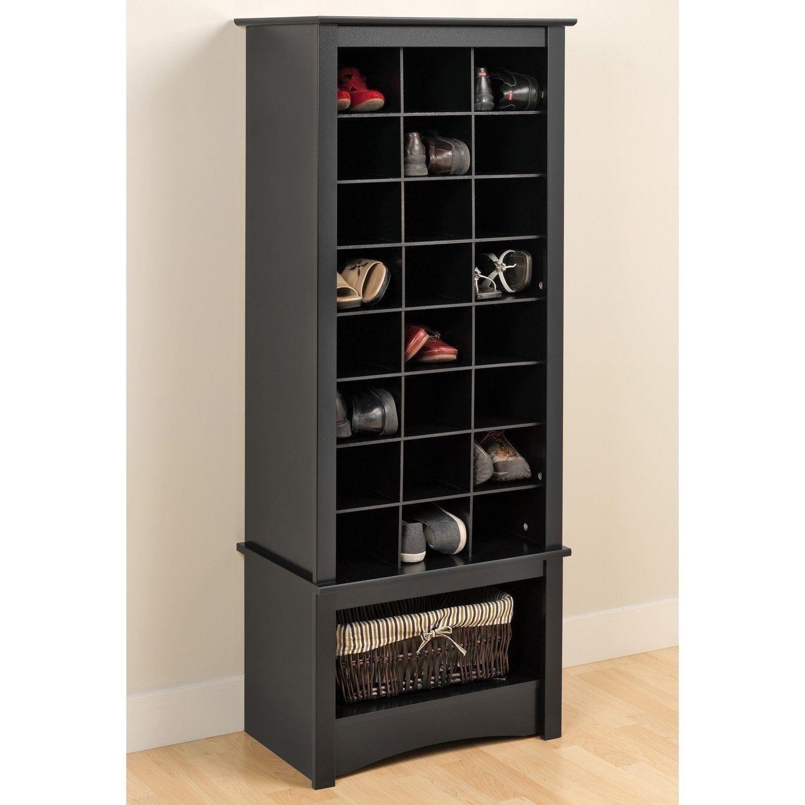 Black Finish Tall Shoe Cabinet Wooden Storage Cubbie Entryway Organizer Rack