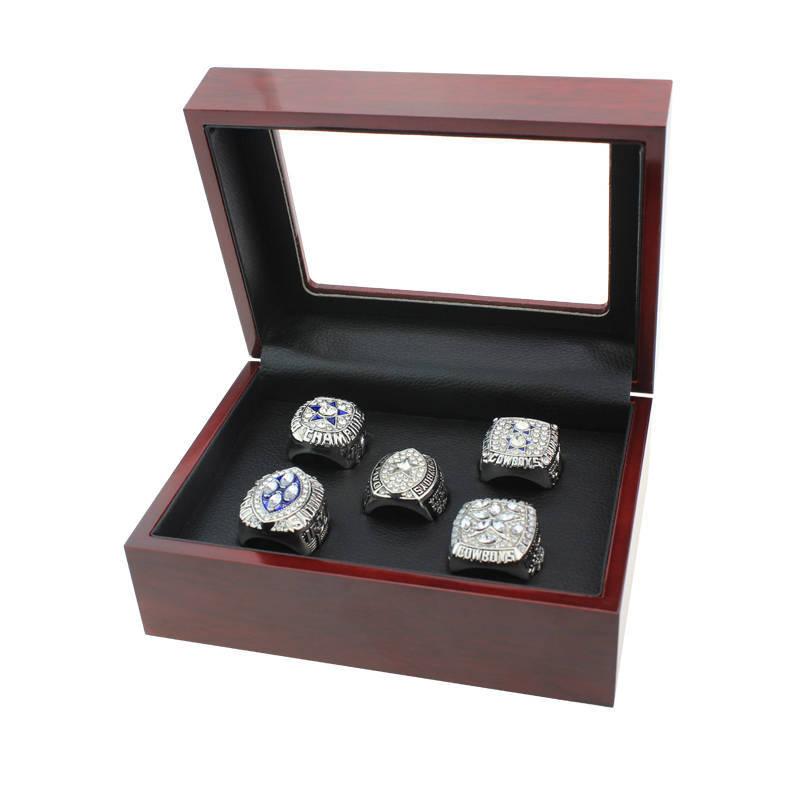 Dallas Cowboys Championship Ring Set (Size 8-14) In Wooden Display Box