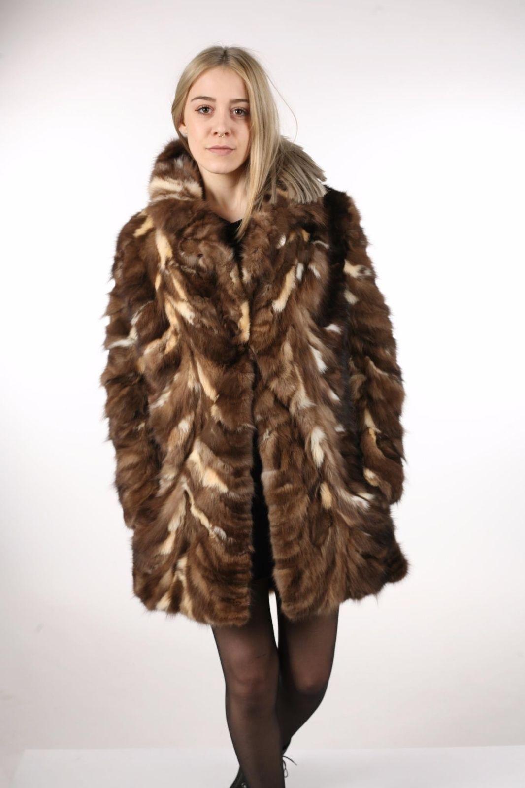 Brown Sable Fur Coat Sectional size Large US 12 EU 42  Genuine Sable 100%