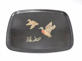 Couroc Monterey Tray Duck Mallard in Flight Inlaid Design on Black Mid C... - $14.84