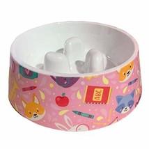 PANDA SUPERSTORE Cute Dog Slow Feed Bowl Dog Bowl Imitation Ceramic Melamine Cat