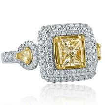 1.98 TCW Yellow Princess Cut Pear Side Diamond Engagement Ring 18k White Gold - $3,681.81