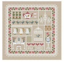 Shabby Chic Sampler cross stitch chart Little D... - $10.80