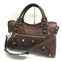 AUTHENTIC BALENCIAGA Leather Giant City Tote Bag Shoulder Bag Brown 204529 - $380.00