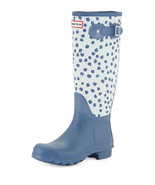 NEW Hunter Original Festival Floral Rain Boots, Blue (Size 5 M) - MSRP $... - $119.95