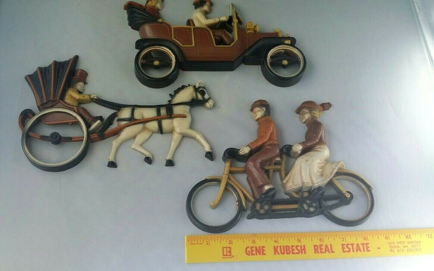 Vtg Homco Country Wall Hangings Decor Bicycle Carriage Horse Automobile 1975