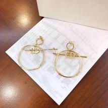 Authentic Christian Dior 2019 CD LOGO LARGE CIRCLE HOOP DANGLE DROP Earrings image 4
