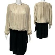 Vintage Liz Petites Inc Marfil / Negro Vestido Largo Cambio Mujer TALLA ... - $16.57