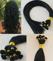 20″ Hand-Tied Weft Hair, 100 grams,100% Human Remy Hair Extensions #1 Jet Black - $188.09