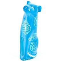 Vaneal Group Hand Carved Kisii Soapstone Sitting Blue Puppy Dog Figurine Kenya image 2