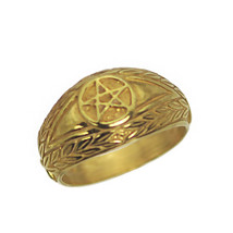 New Real 10K Yellow Gold Celtic Dragon Evil Eye ring Pentagram Jewelry P... - $265.73