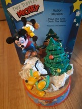 Vintage Disney Enesco Tree Topplin Mickey Mouse Action Musical Deck The ... - $49.45