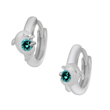 0.20 Cttw Round Cut Topaz 10k White Gold Over 925 Silver Dolphin Hoop Ea... - $68.17 CAD