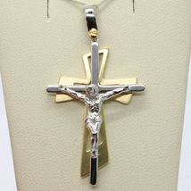 PENDANT DOUBLE CROSS YELLOW GOLD WHITE 750 18K, WITH CHRIST, GLOSSY SATIN image 5