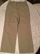Boys  Size 16 Husky Izod pants khaki uniform flat front adjustable waist - $7.99