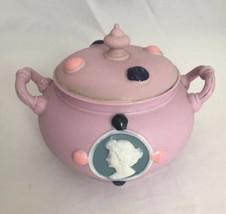 Vintage Schafer Vater Art Nouveau Dresser Jar Jasperware Cameo Jeweled Pink - $40.00