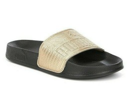 Puma Leadcat Leather Gold Black Womens Sandal Slides 365693 04 - $29.95