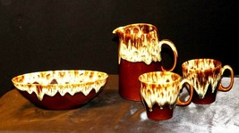 Brown Drip Glazed Banana Dish, Pitcher and Serving Bowl AA19-1671 Vintage image 2