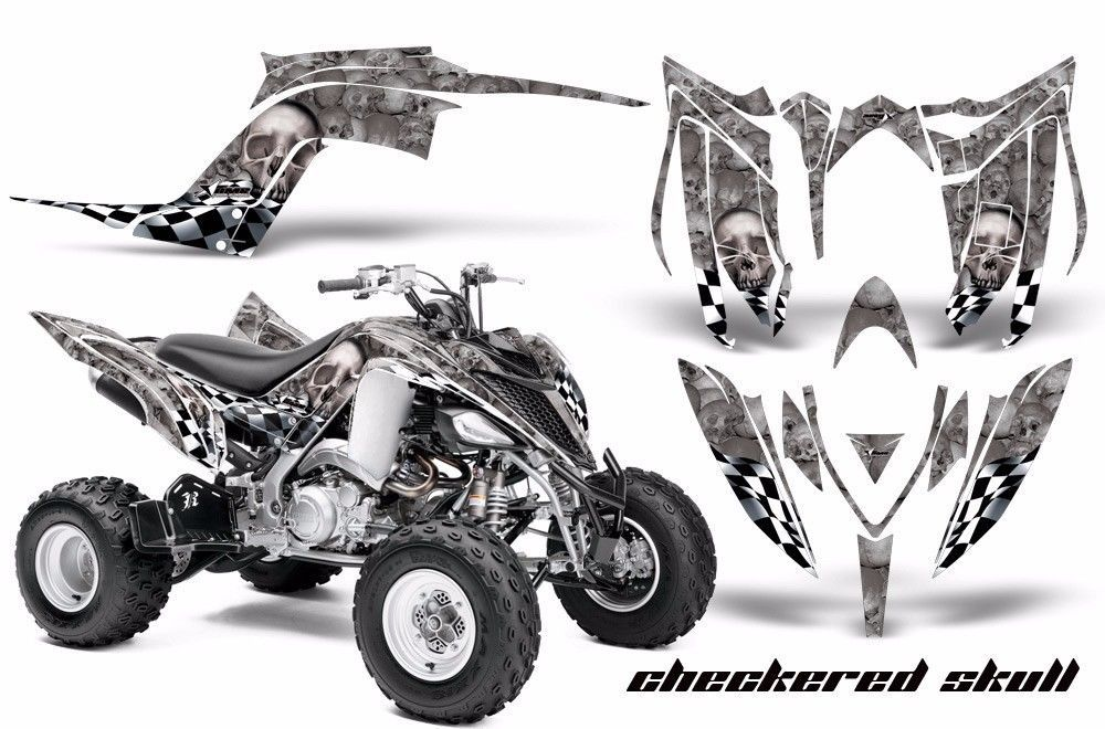 ATV Graphics Kit Decal Sticker Wrap For Yamaha Raptor 700R 2013-2018 CHECKER SLV